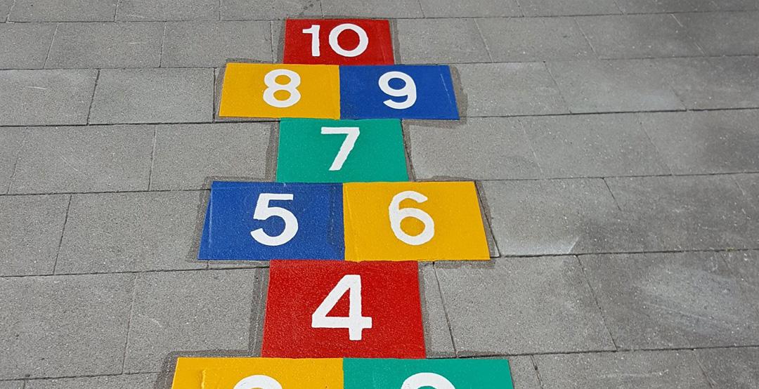 MCW Markeringen buitenbelijning speelplaats educatieve lijnen